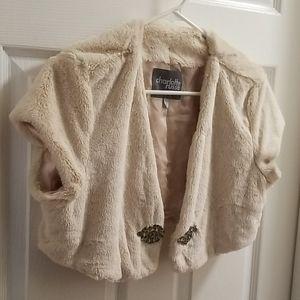Charlotte Russe Cream Fur Jacket NWOT